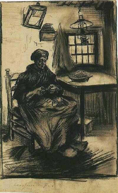 Vincent van Gogh: Woman Shelling Peas, Nuenen: August, 1885 (Amsterdam, Van Gogh Museum)