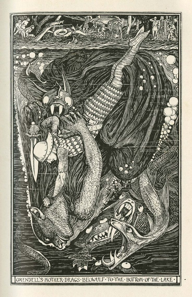 """Henry Justice Ford's illustration of Beowulf from the book """"The Red Book of Animal Stories"""" 1899"""