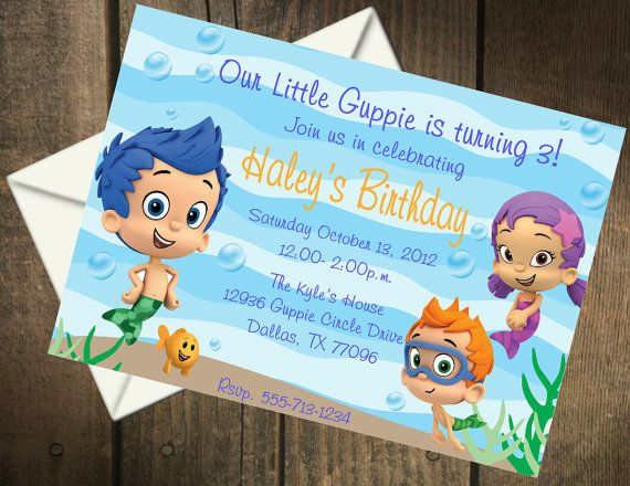 Bubble Guppies Birthday Party Printable Invitation. $5.00, via Etsy.