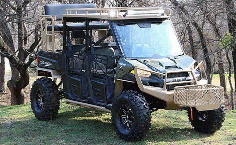 Offroad Monster Polaris Ranger 4x4 Hunting Rig with bumpers roof, light bar, winch, high seat