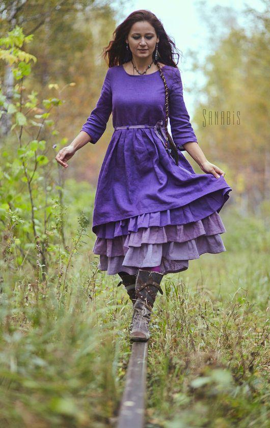 Купить Многослойное платье из льна «Лавандовое» - тёмно-фиолетовый, однотонный, фиолетовый, фиолетовый цвет, платье