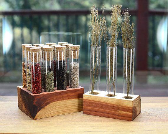 Test Tube Spice Rack W/ Matching Bud Vase by TheTubularSpiceCo