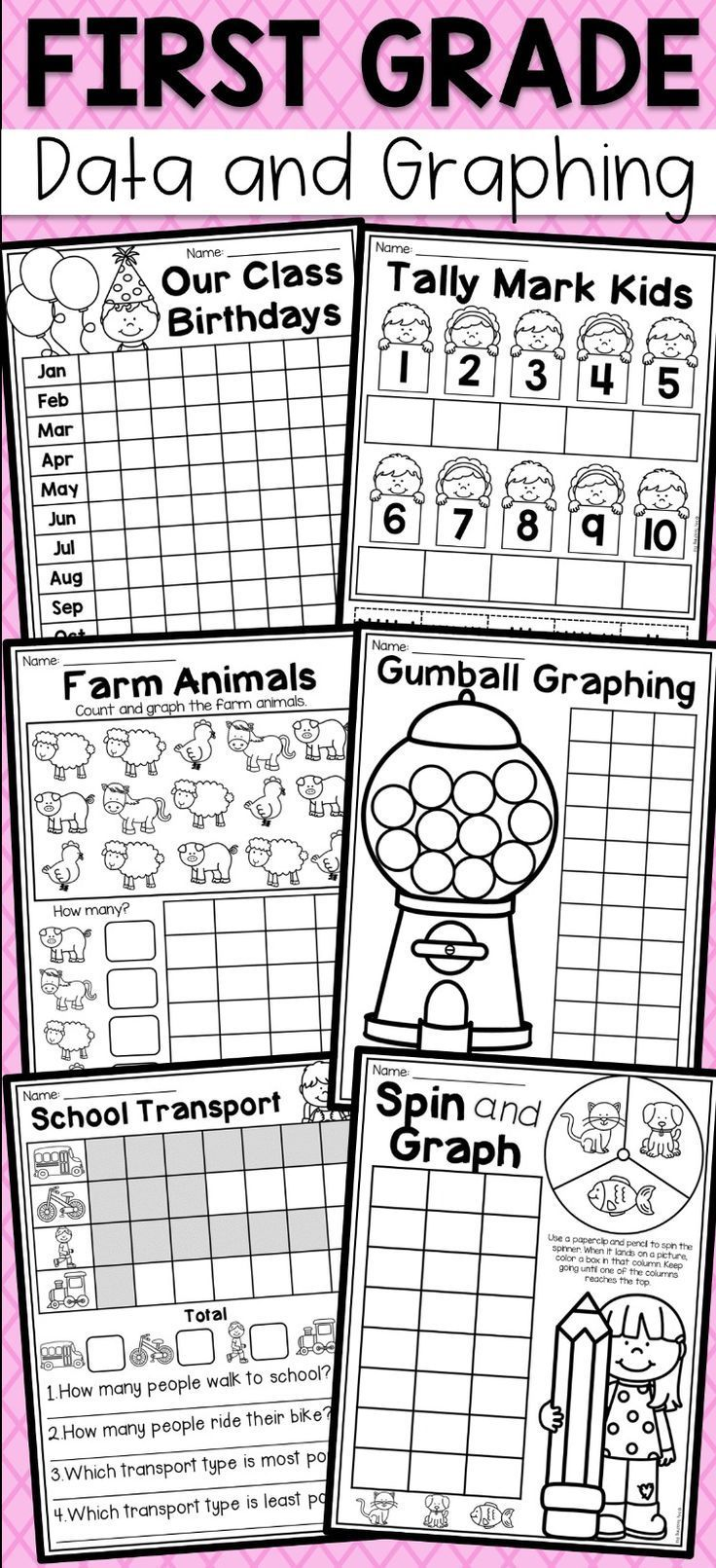 First Grade Data And Graphing Worksheets Distance Learning Modern Design Graphing First Grade Graphing Worksheets First Grade Worksheets