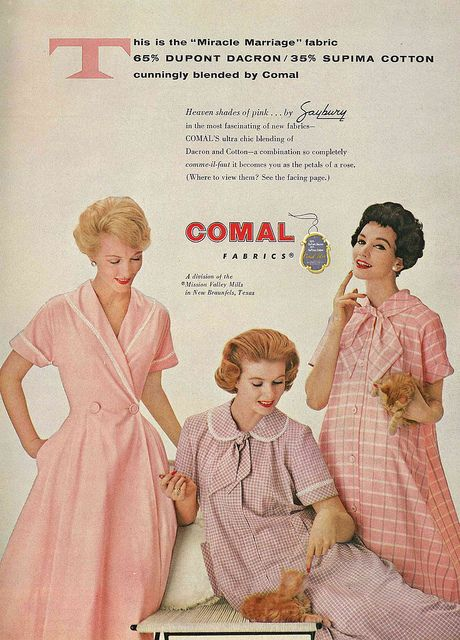 Pink 1950s housecoats and darling ginger kitties as polyester works its way into our wardrobes.