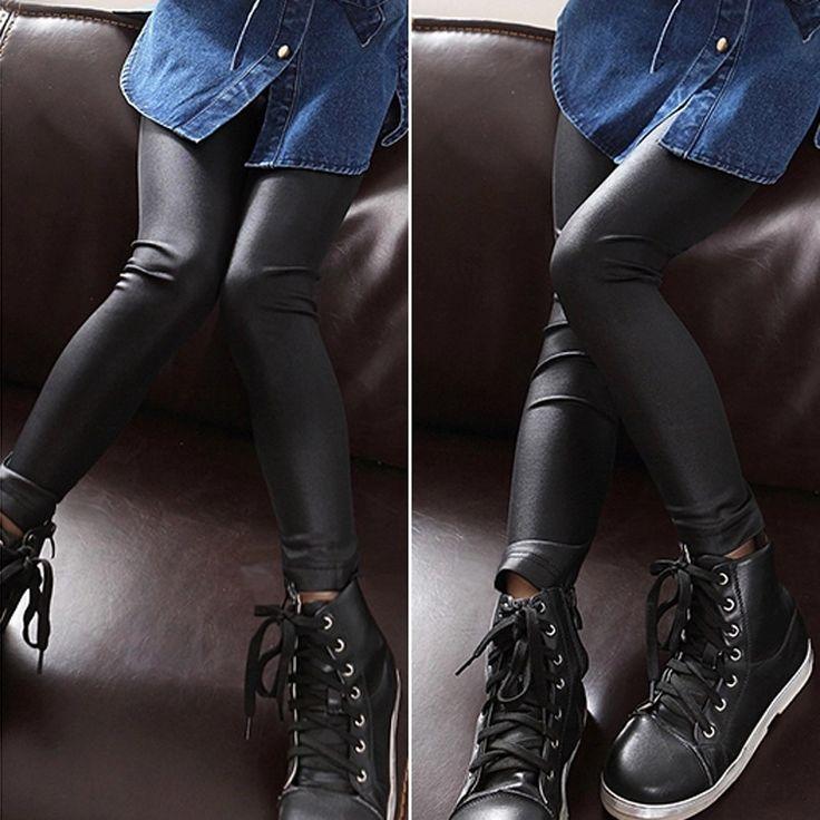 Весной ребенок искусственного кожаные штаны девочка эластичный ПУ леггинсы ребенок черные узкие брюки брюки GPU682