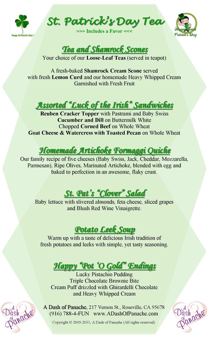 High tea menus and recipes - St Patrick S Day Menu Food Network St Patricks Day High Tea Meal Something Fun To