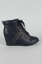 Liliana Genie-5 High Top Pyramid Studded Lace Up Wedge Sneaker