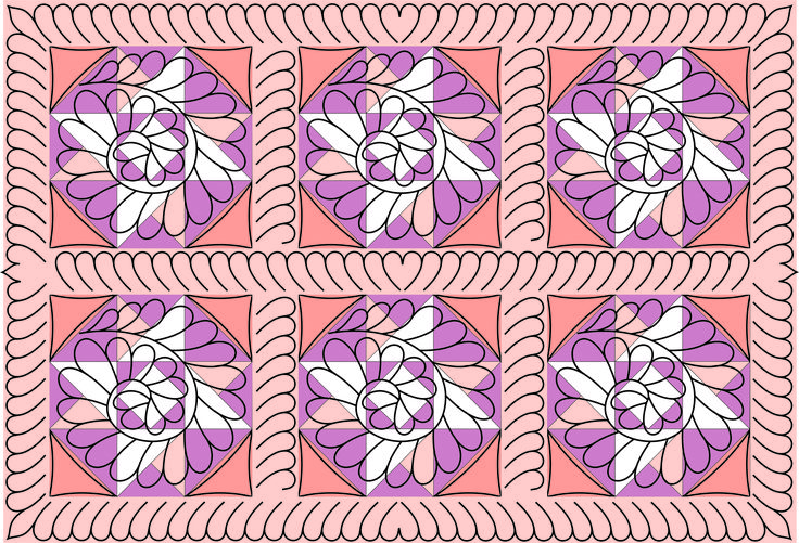 Feather block and border quilting stencil by Fairy Quilt