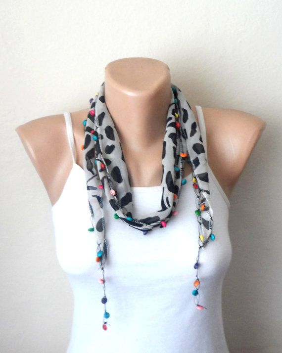 white black scarf chiffon fabric turkish scarf by DamlaScarf