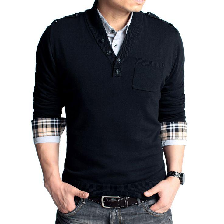 casual men's fashion | men's v-neck sweater
