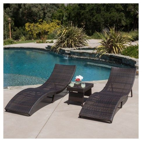 Enjoy a contemporary twist on traditional outdoor seating with the Christopher Knight Home Acapulco Chaise Lounges and table. The lounges are curved to fit the form of the body for maximum comfort and relaxation. The lounges and table fold in half and the legs can be folded in for easy storage. Keep life leisurely with the Christopher Knight Home Acapulco Chaise Lounges set.