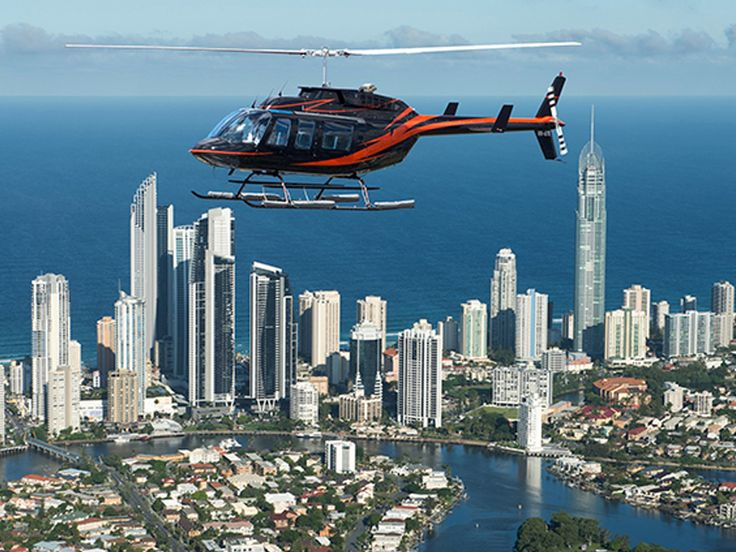 Helicopter tour over Surfers Paradise, Gold Coast, Queensland.