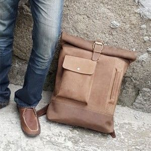 Crazy Horse Leather Roll Top Backpack 001A