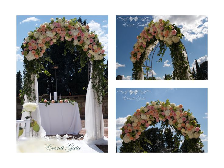 Wedding Ceremony Arch with flowers and drapes