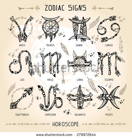 Set of hippie and bohemian style hand drawn zodiac signs. With decorative indian and boho elements: arrows, feathers, indian ornament.