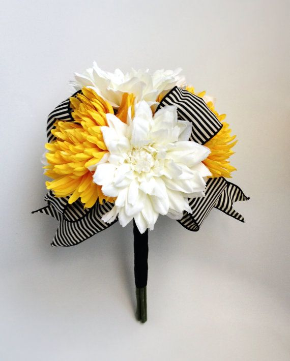 White and Yellow Wedding Bouquet with Silk Dahlias, Mums and Black & White Striped Ribbon