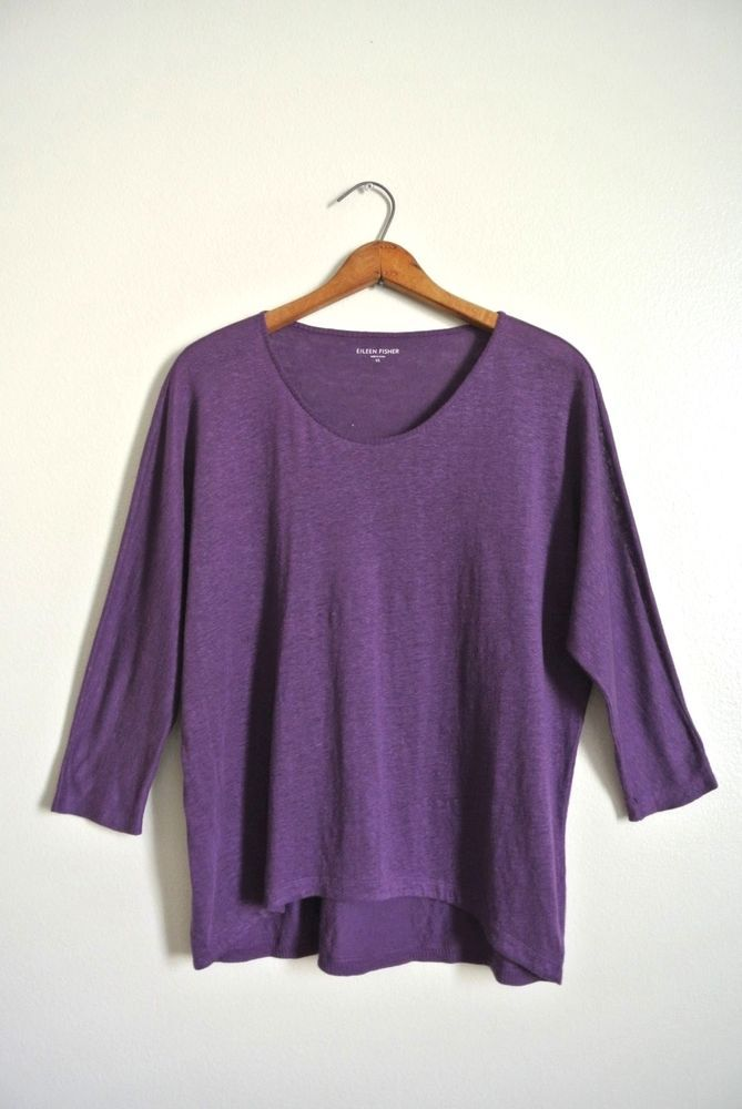 EILEEN FISHER 100% Linen SLUB Tunic - XS  Purple Top Shirt Pull-over T Lagenlook #EileenFisher #TunicSlub