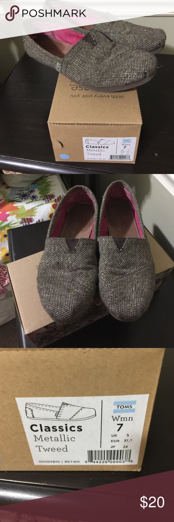 Toms for women Gently worn Toms classic metallic tweed, size 7 TOMS Shoes Flats & Loafers
