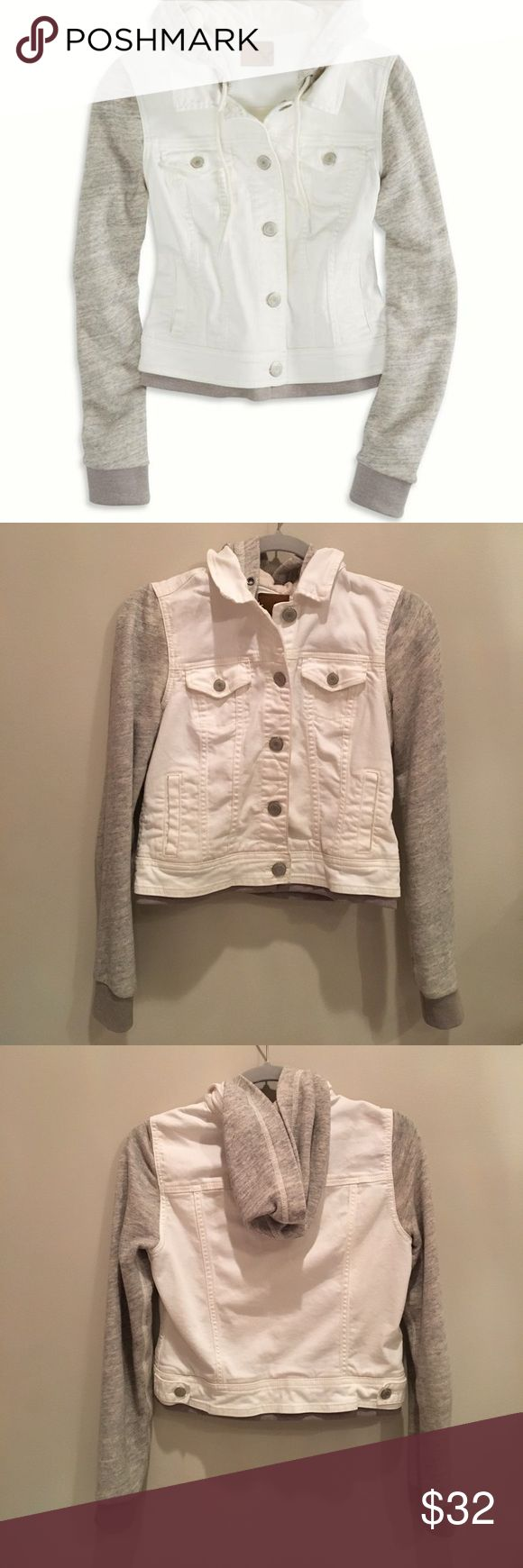 AEO Jean Jacket Hoodie This SUPER cute and comfortable Jean jacket is perfect for whenever. 100% cotton sweatshirt material sleeves and hood. Worn a small handful of times, no stains. Unfortunately, I grew out of it! American Eagle Outfitters Jackets & Coats Jean Jackets