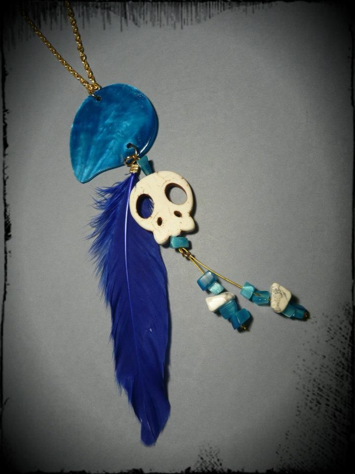 ~ White Skull,Mother Of Pearl Tear & Blue Feather ~