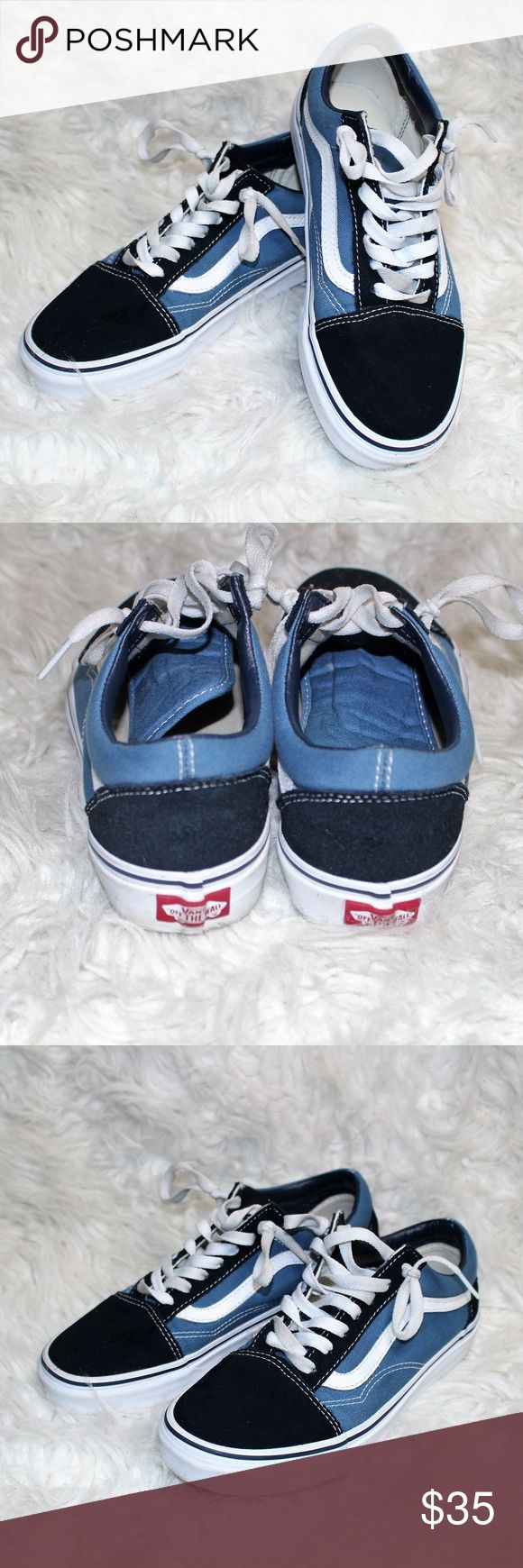 VANS   Old Skool Navy & White (Mens 5.5/Womens 7) Super trendy yet still classic. Vans Old Skool Navy and White Shoes. EUC! Lightly worn.   Brand   Vans  Size   Womens - 7 / Mens 5.5   * Smoke Free and Pet Free Home * Vans Shoes