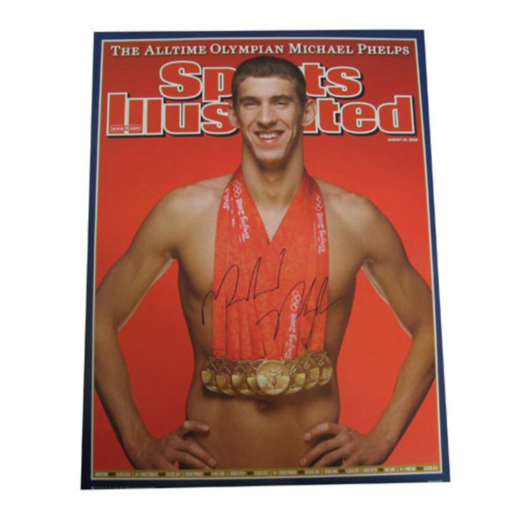 Autographed Michael Phelps Sports Illistrated Cover With His 8 Gold Medals From The 2008 Olympics