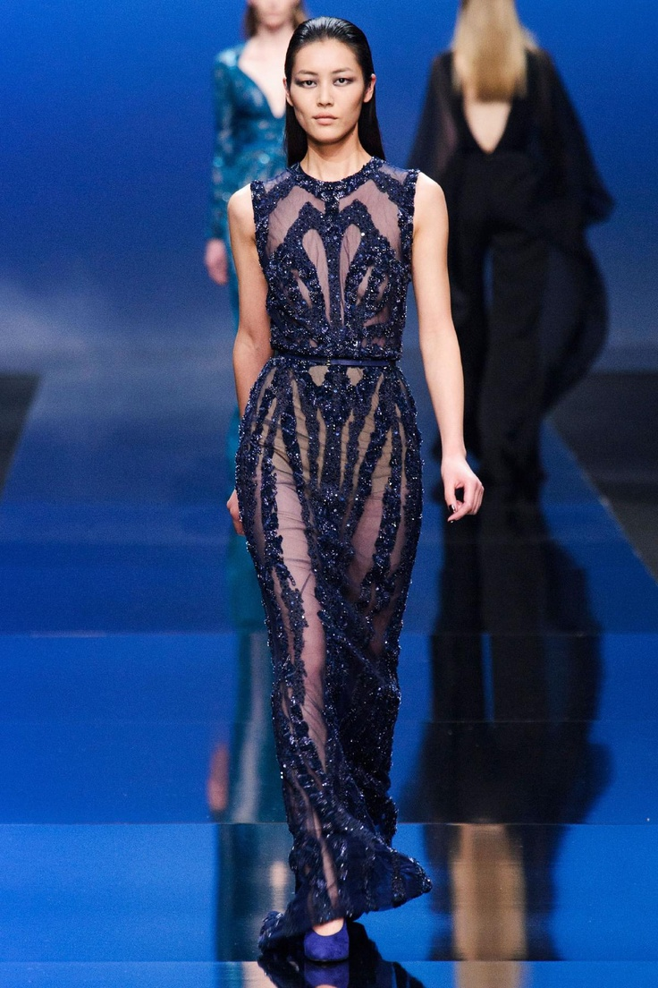 Navy mesh dress from Elie Saab Fall 2013 RTW Collection