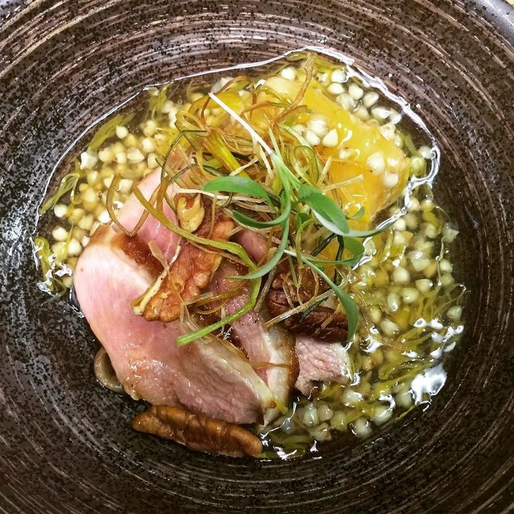 Omakase for December. Kuzushi. Butternut squash Goma Tofu agedashi sobanomi(buckwheat seeds) Kiku Dashi-Ankake Local duck Kuwayaki with organic maple syrup smoked pecan leeks. #omakase #japanese #kaiseki #kuzushi #local #duck #gomatofu #sobanomi #maplesyrup #tatsuyastyle by tatsuyawine