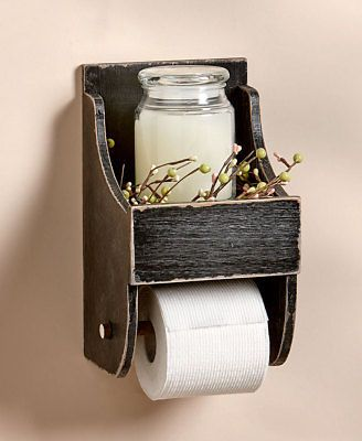 BLACK RUSTIC TOILET PAPER HOLDER & SHELF COUNTRY P…