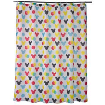 Disneyu0027s Mickey Mouse Polka Dot Fabric Shower Curtain For Morganu0027s Bathroom