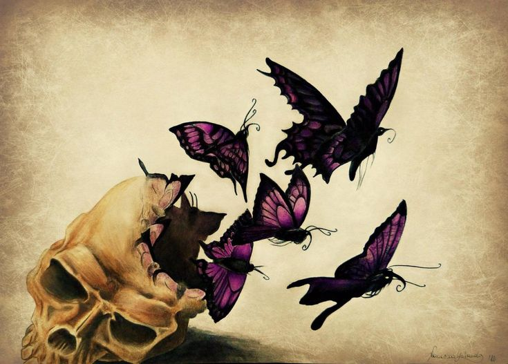 life after death by ~VelenoRosso9 on deviantART  Love how the skull is turning into butterflies to fly away!