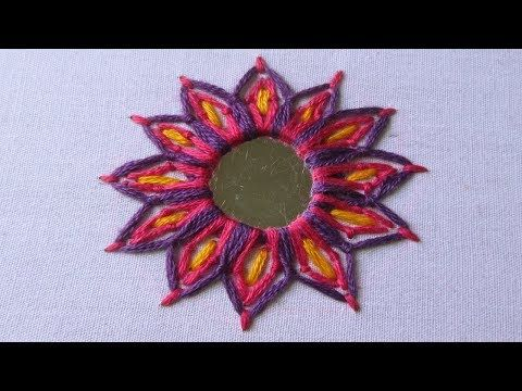 Hand Embroidery | Mirror Work Stitch | Shisha Work | Hand Embroidery Designs #20 - YouTube