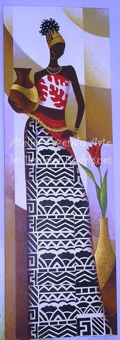 tela com africana pintada