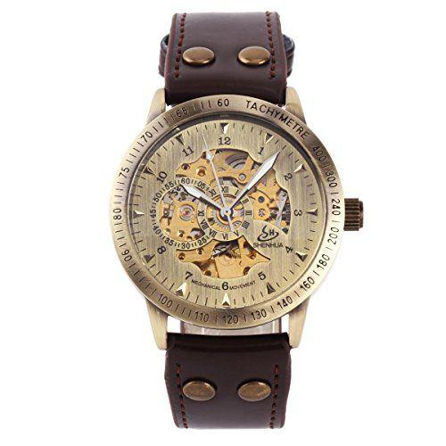 YESURPRISE Automatikuhr Automatik Armbanduhr Skelett mechanische Uhr Leder braun bronze - http://uhr.haus/yesurprise/yesurprise-automatikuhr-automatik-armbanduhr-7