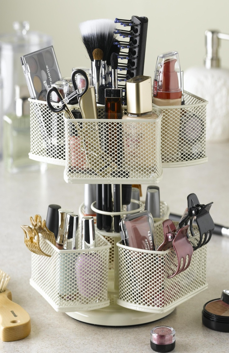 Want and need.: Cosmetic Organizing, Ideas, Organization, Makeup, Cosmetics, Organizing Carousel, Beauty, Carousels, Products