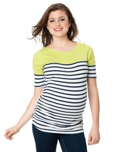 Motherhood Maternity 3/4 Sleeve Boat Neck Side Ruched Maternity T Shirt