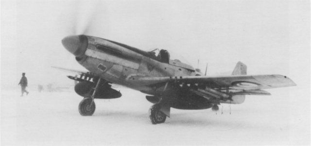 A SAAF F-S1D Mustang armed with rockets and napalm bombs taxies out at Sowon (K13) Air Base.