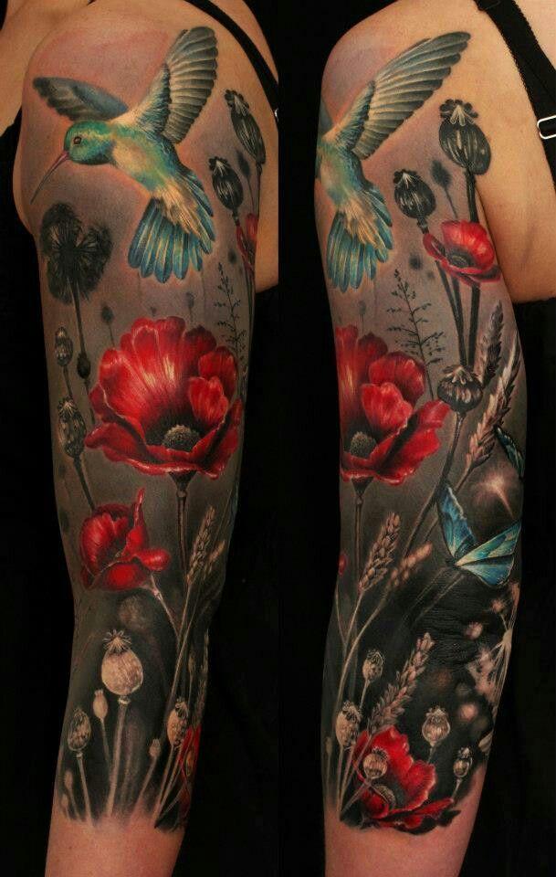 ... - Klaprozen Tattoo Aquarel Klaproos Tatoeage en Bloementatoeages