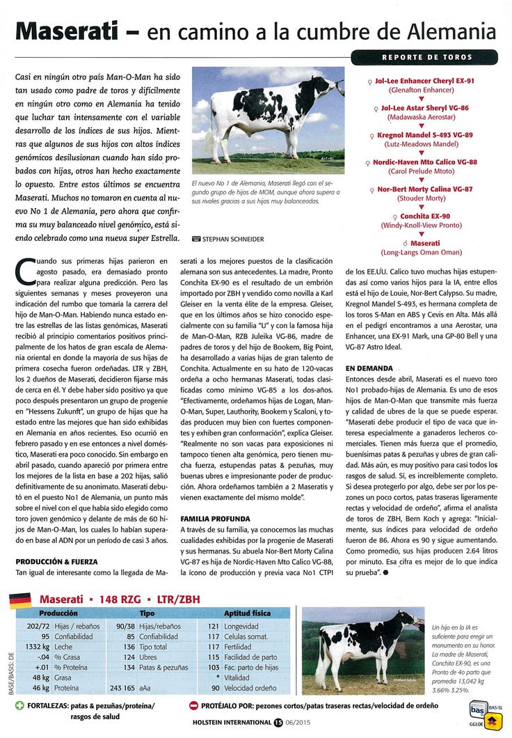 ARTICULO DE LA REVISTA HOLSTEIN INTERNATIONAL Junio 2015 sobre MASERATI