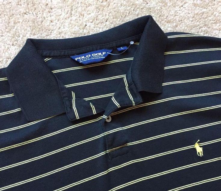 RALPH LAUREN Men's BLACK/YELLOW Striped Polo Shirt Top Size Large  | eBay