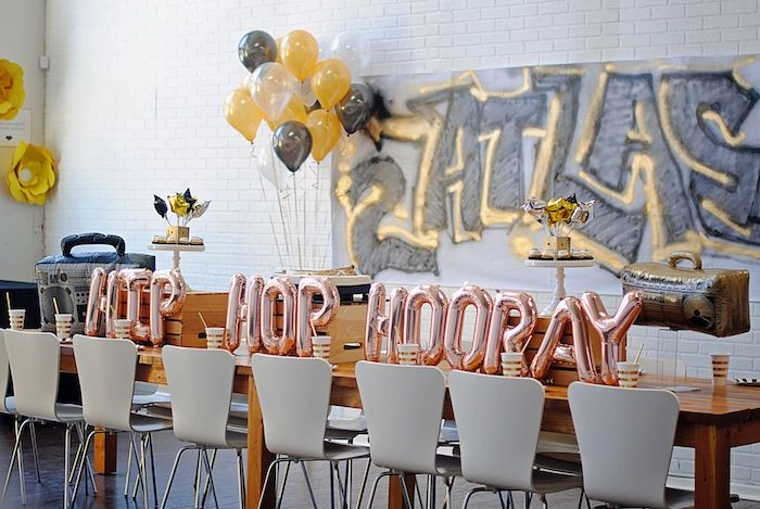 "Balloon adorned guest table from a ""Hip Hop Hooray"" Old School Rapper Birthday Party""Hip Hop Hooray"" Old School Rapper Birthday Party on Kara's Party Ideas 