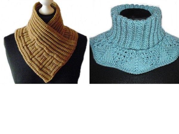 Stricken und sparen: Jetzt mit nur einer Anleitung gleich zwei schöne + warme Halswärmer / Schalkragen stricken. Viel Spaß und einen warmen Winter.