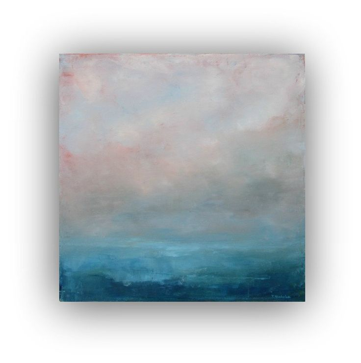 Before Dawn- Abstract Ocean Landscape Oil Painting small 12x12 blue and grey fog clouds sky soft original palette knife painting. $75.00, via Etsy.