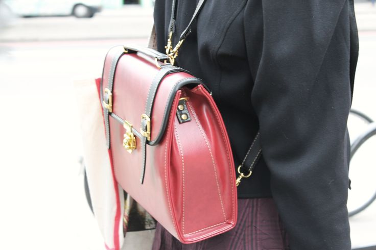 Red satchels rule the day. Shoreditch Style
