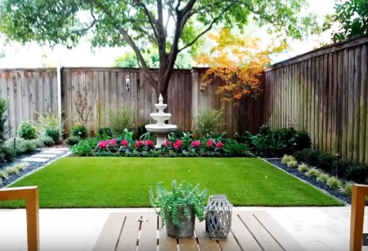 Small Back Yard With Synthetic Turf And Gardens Along The Fence