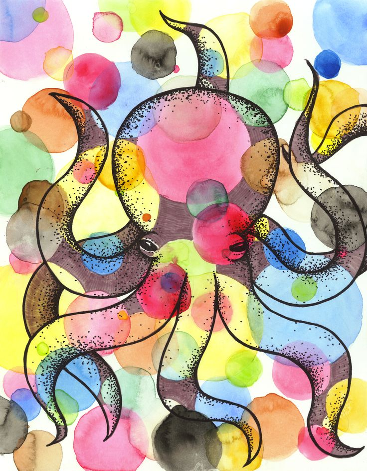 Octopus Watercolour and ink. Suzy Wilson Art 2013.