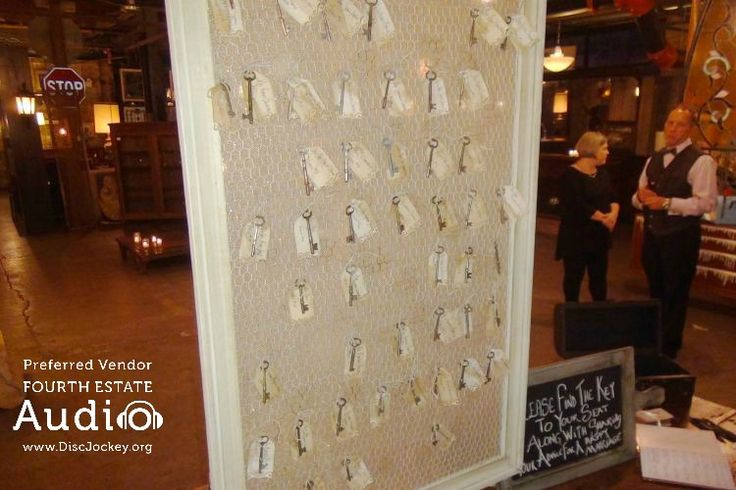 This creative use of old-style keys with table cards helped complete a rustic themed wedding that fit perfectly with the setting at Salvage One. http://www.discjockey.org