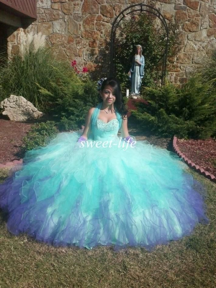 New Design 2015 Quinceanera Dresses Ombre Ball Gown
