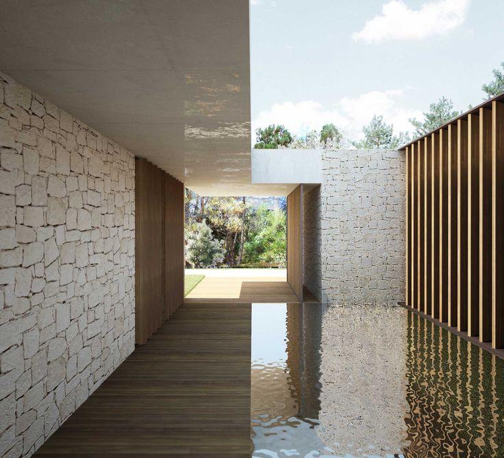 Patio de diseño con lámina de agua