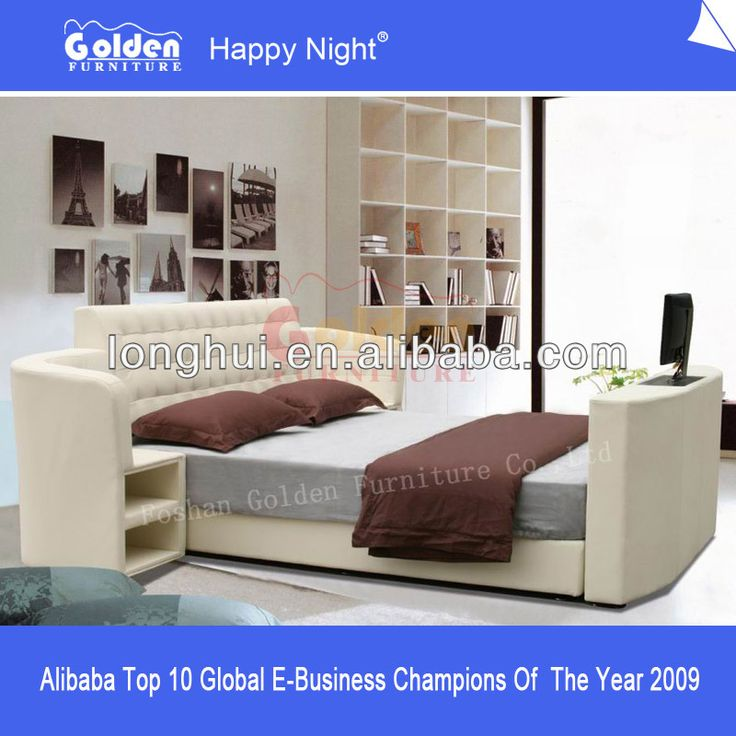 foshan golden furniture leather bed with tv in footboard
